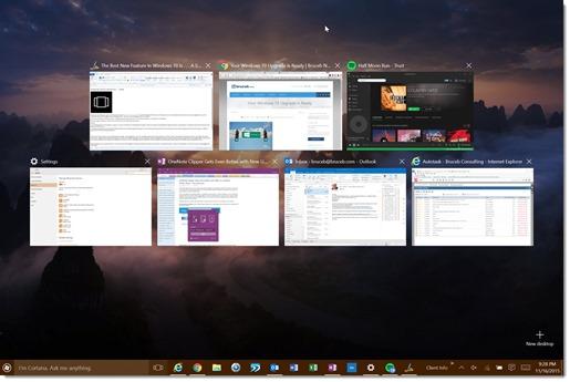 Windows 10 Task View - fullscreen view