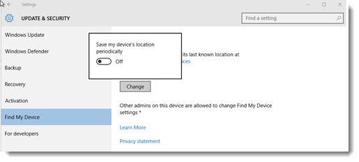 Windows 10 - Find My Device