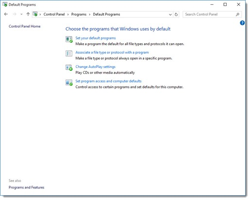 Windows 10 - set default programs