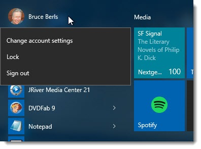Windows 10 - sign out from top of Start menu