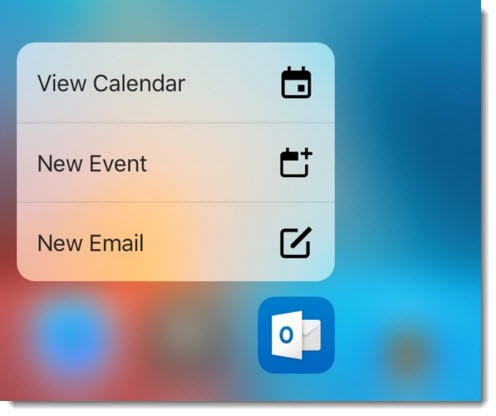 Outlook app for iOS - force touch