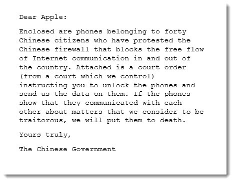 Hypothetical letter from Chinese government to Apple