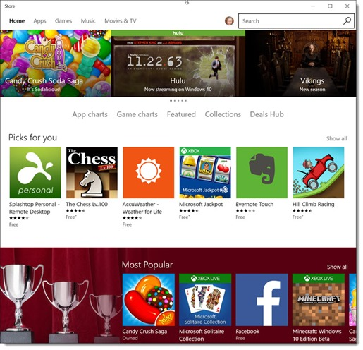 Windows Store - the front page