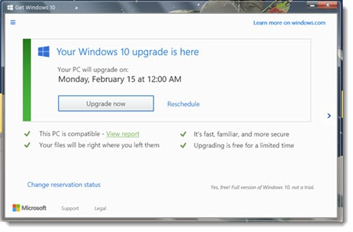Windows 10 upgrade notice