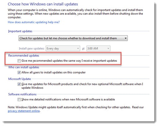 Windows Update - turn off recommended updates
