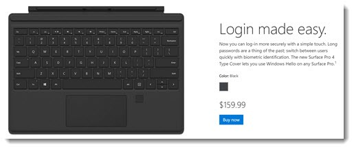 Surface Pro keyboard with fingerprint sensor