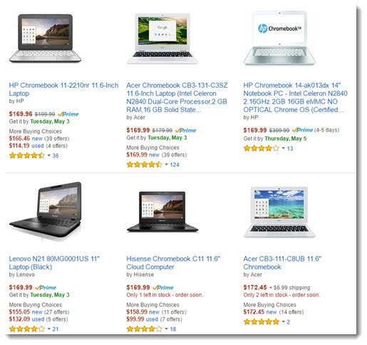 Chromebooks - some typical low price Chromebooks from Amazon