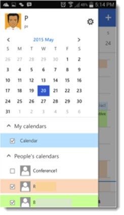 OWA for iPhone - selecting shared calendars