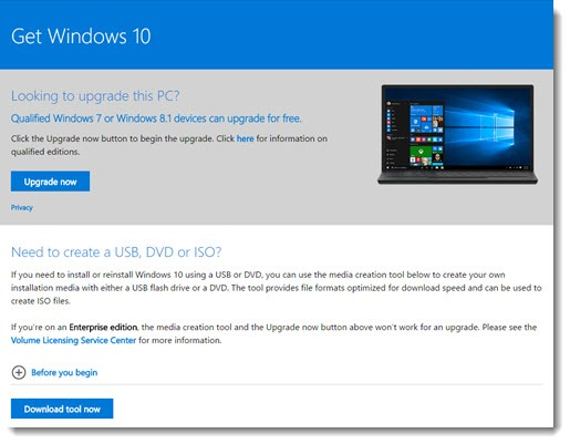 Windows 10 upgrade - media creation tool