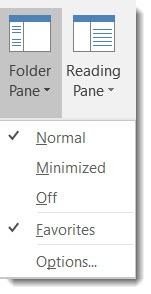 Outlook 2016 - folder pane settings