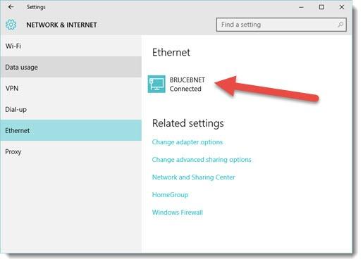 Windows 10 - change network location - Ethernet