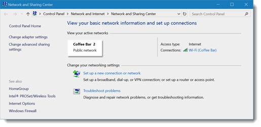 Windows 10 network location