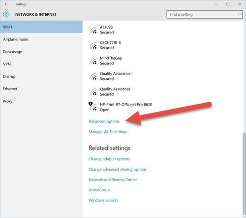 Windows 10 - change network location - wi-fi