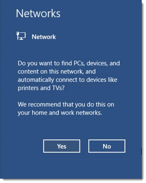 Windows 10 - choose network type