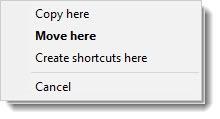 Context menu for right-click drag and drop