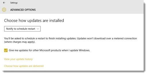 Windows 10 updates - install automatically or notify to schedule restart