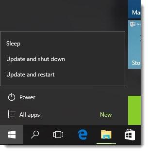 Windows 10 power - update & shut down, update & restart