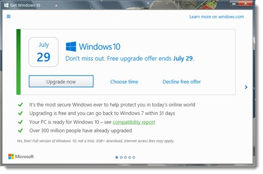 Windows 10 upgrade notice - now with option to decline