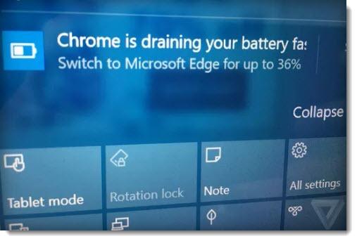 Windows 10 notification - Edge advertisement