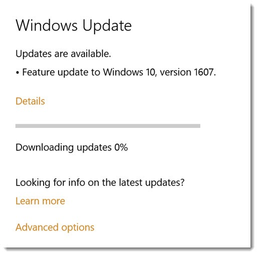 Windows 10 Anniversary Update - Feature update to build 1607