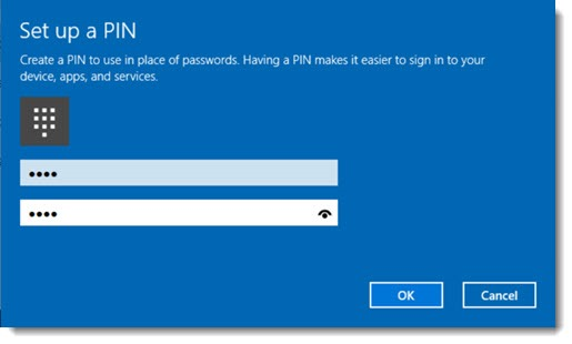 Windows 10 - setting up a PIN