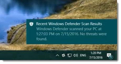 Windows Defender - enhanced notifications
