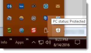 Windows Defender taskbar icon