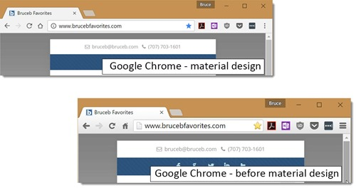 Chrome - compare with & without material design