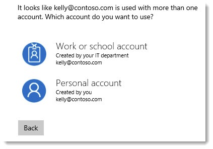 Microsoft account signin - work or personal