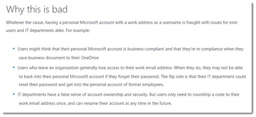 Overlapping Microsoft personal & business account credentials are bad