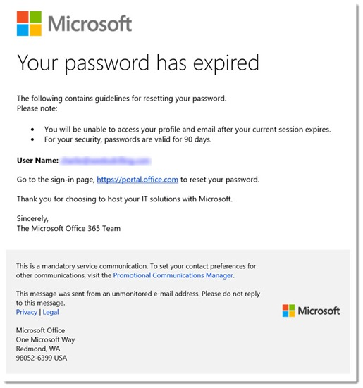 Microsoft Office 365 - purported password expired email