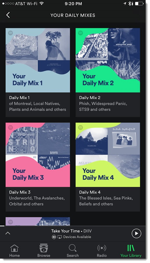 Spotify - Daily Mix playlists