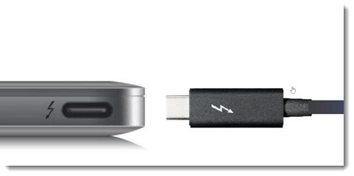 Thunderbolt cable and laptop port