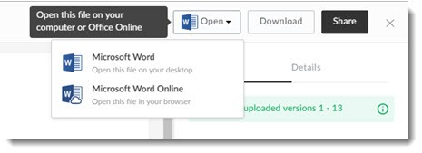 Box - open files to Word or Word Online