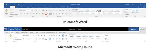 Office Online - compare Word ribbon to installed program