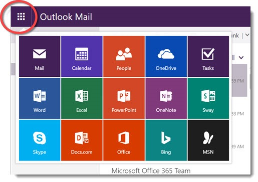 Office 365 and Outlook.com webmail app launcher
