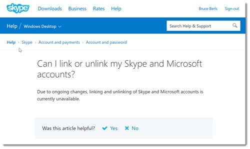 Microsoft disables linking/unlinking Skype & Microsoft accounts