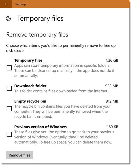 Windows 10 storage settings - temporary files