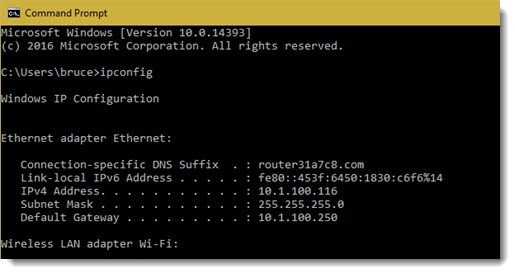 Command prompt - run ipconfig for network details