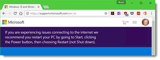 Microsoft support page with banner - restart to fix Internet connection problems