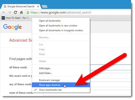 Chrome - Apps shortcut