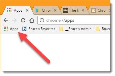 Chrome - Apps shortcut on Bookmarks bar