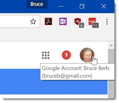 Google Chrome - signed in account in upper right