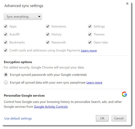 Google Chrome sync settings