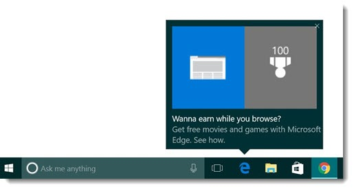 Edge taskbar popup ad