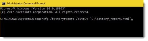 Windows 10 command prompt for battery report