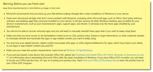 Windows 10 fresh start warning