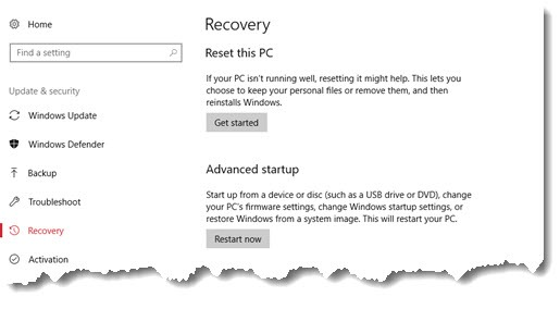 Windows 10 Reset this PC