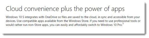 Windows 10 S description