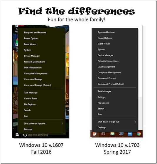 Windows 10 power user menus